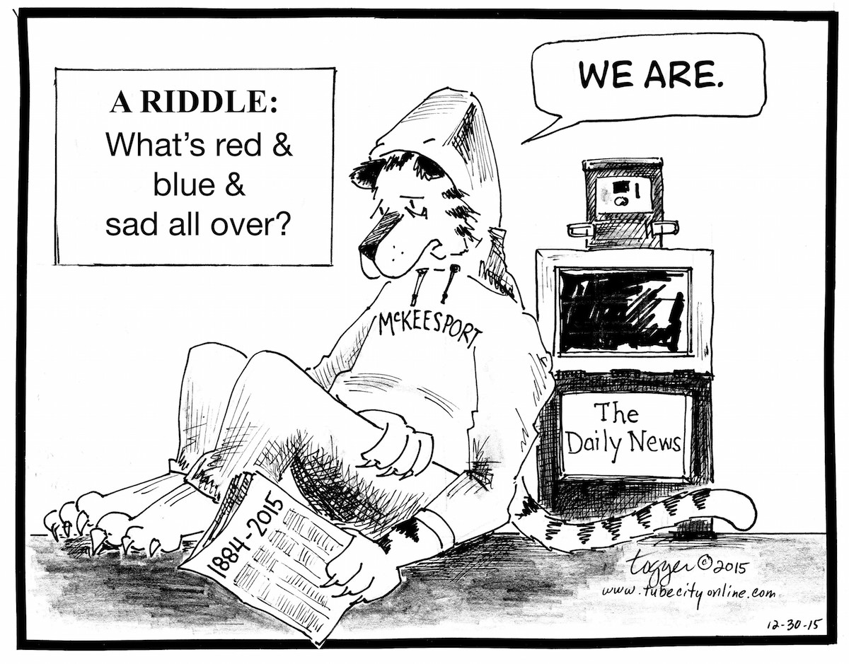 What's red and blue and sad all over? We are. Jason Togyer cartoon © 2015 Tube City Community Media Inc.